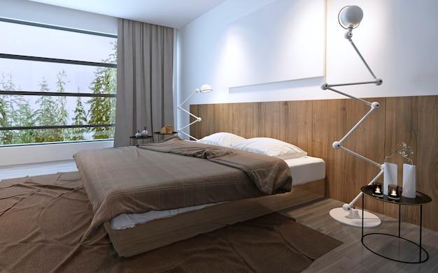 갈색 색상의 탁 트인 창문이있는 밝은 침실. 인테리어의 미니멀리즘, 넓은 공간. 3d 렌더링