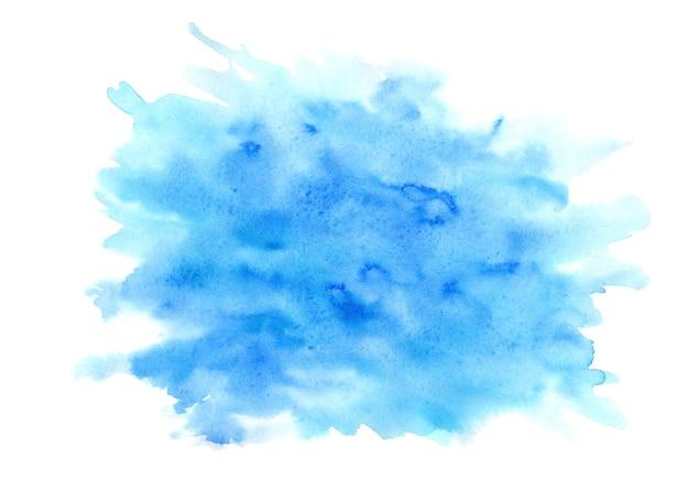明るい青とターコイズの表現力豊かなウェット水彩テクスチャブロブは、白い背景で隔離