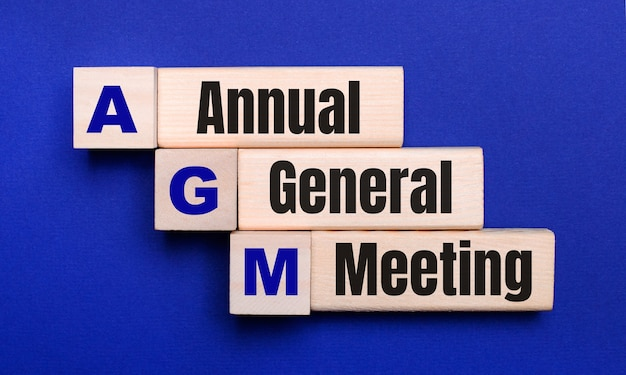 On a bright blue background, light wooden blocks and cubes with the text agm annual general meeting.