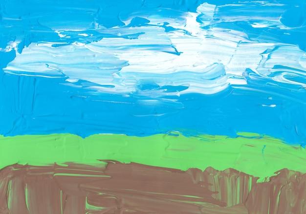 Ярко-синий коричневый зеленый и белый фон