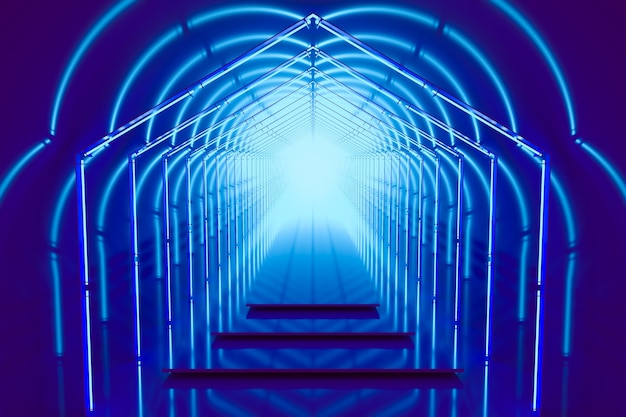 Bright blue color podium portal with neon lights