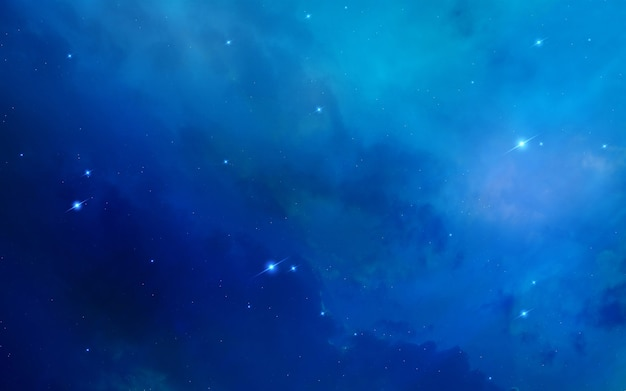 Bright blue nebula with stars.