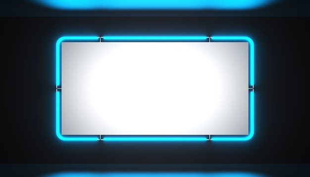 A bright blue neon blank sign on a black background is glowing bright