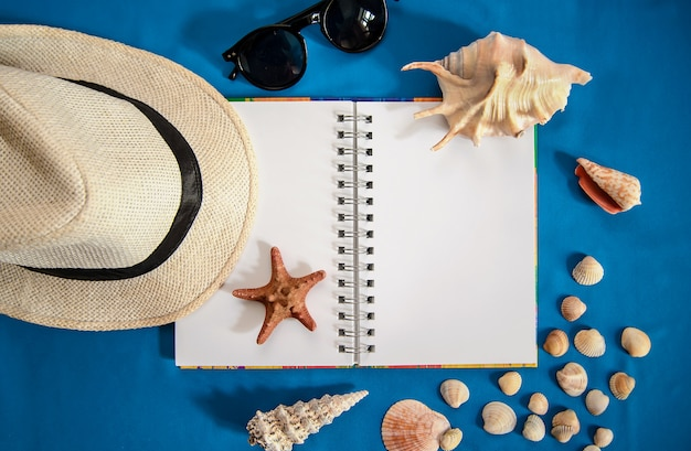 Bright blue picture with an open notebook, a shell, hat, sunglasses