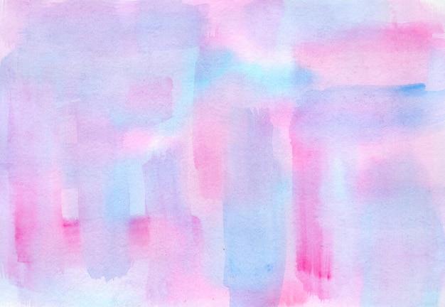 밝은 파란색, 보라색, 분홍색 줄무늬 젖은 수채화 배경, 일몰 하늘 개념 그림