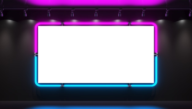 A bright blue purple neon blank sign on a black background is glowing bright