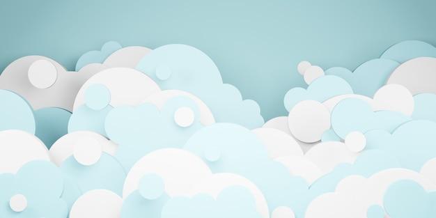 Яркое голубое небо и облака в стиле 3d иллюстрации