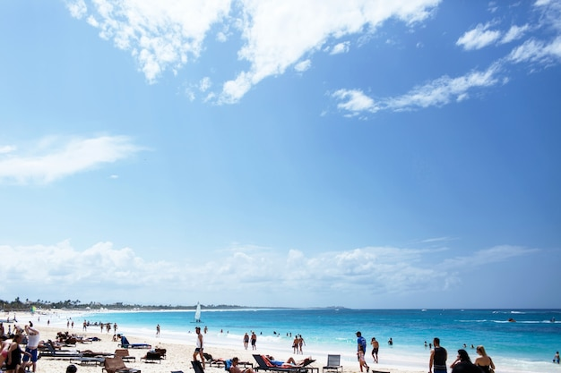 Bright blue sky spread over beach with white sand