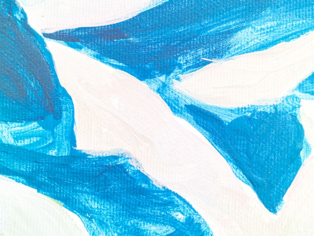 Bright blue strokes on white canvas