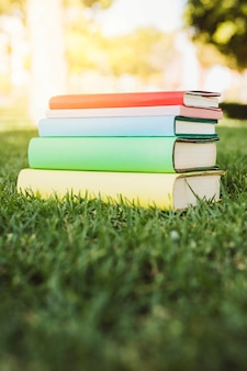 Bright book stack on green grass