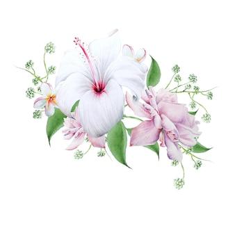 花と明るい花束。ハイビスカス。ローズ。水彩イラスト。手で書いた。