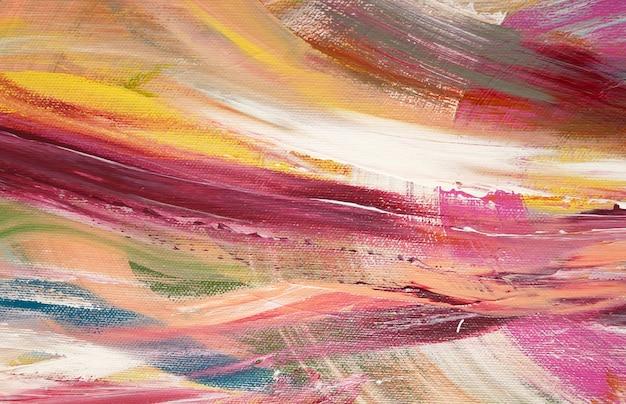 明るいブラシストロークは、背景、ブラシテクスチャ、キャンバスにアクリル絵の断片を抽象化します。