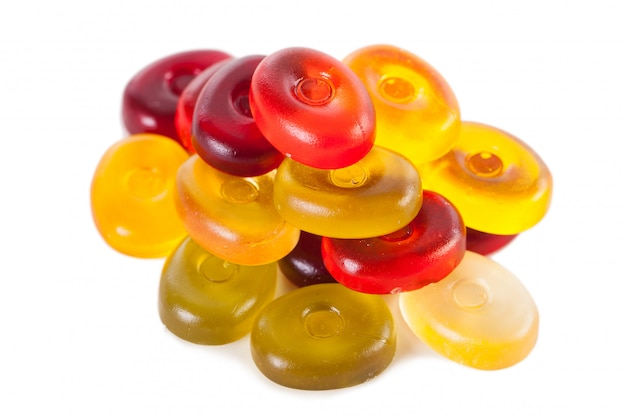 Bright candies isolated on a white