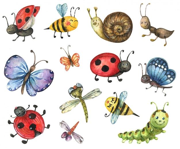明るい漫画の昆虫。蝶、キャタピラー、カタツムリ、蜂、トンボ、てんとう虫、アリのイラスト
