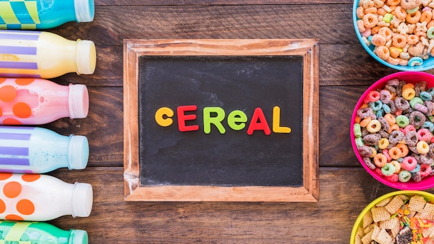 Bright cereal inscription on chalkboard