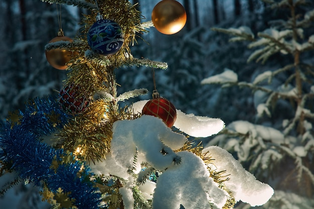 トウヒの森の雪に覆われたクリスマスツリーの枝からの明るいクリスマス安物の宝石、コピースペース