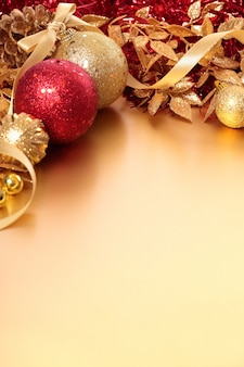 Bright christmas decoration with red and golden balls