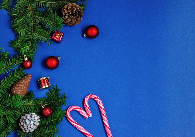 Bright christmas or new year blue background with branches of spruce
