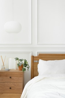 Bright and clean modern bedroom in scandinavian style