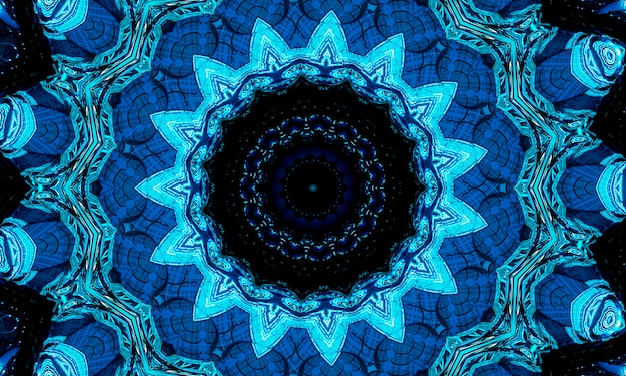 Bright cold cyan sun midpoint drawing shape art design. big fuzzy magic sphere form in modern artist. navy aqua color motley power boom ball symbol on dark fond. deep sea kaleidoscope.