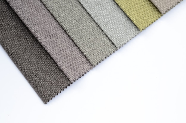Bright collection of colorful gunny textile samples. fabric texture background with copyspace