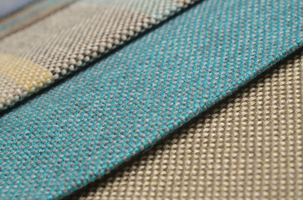 Bright collection of colorful gunny textile samples