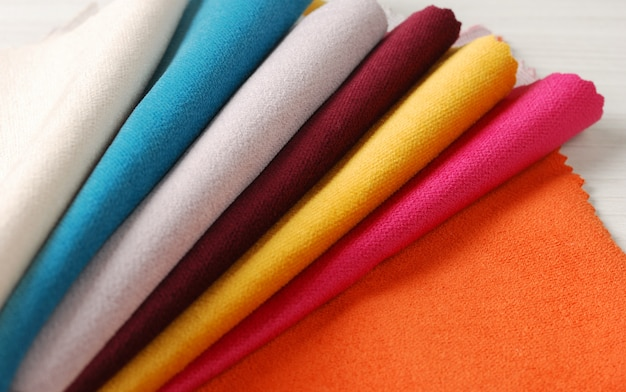 Bright collection of colorful velour textile samples