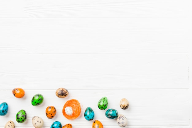 Bright collection of easter quail eggs