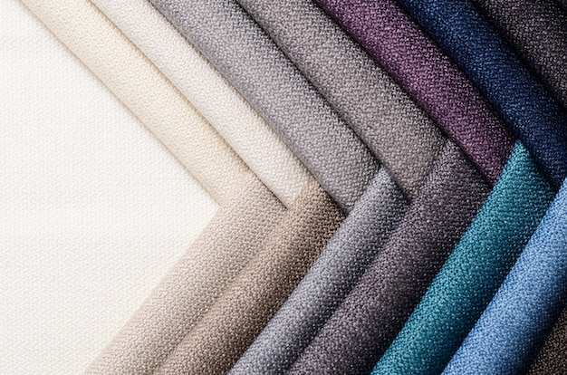 Bright collection of gunny textile samples. fabric texture background. Premium Photo