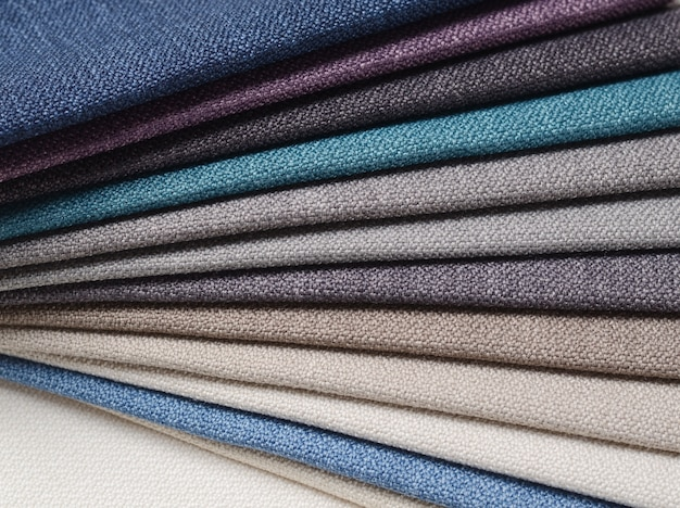 Bright collection of gunny textile samples. fabric texture background.