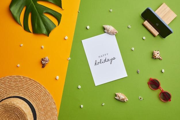 幸せな休日の明るい色のポップ構成は、休暇の雰囲気を持つグラフィックの熱帯の背景の上に注意します、