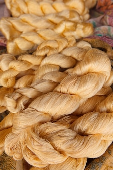 Bright  color of raw silk threads
