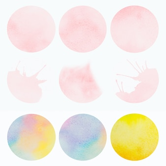 Bright color watercolor painting of pink blue yellow, brush stroke ink, splash stain circle, abstract background.
