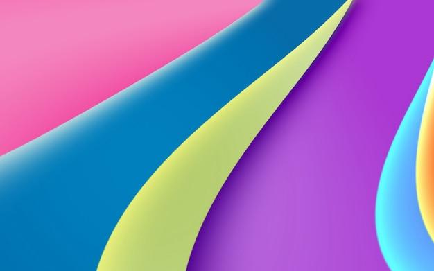 明るい色の抽象的な、滑らかな形と幾何学。色付きの曲線のストライプ Premium写真