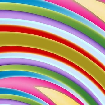 明るい色の抽象的な、滑らかな形と幾何学。色付きの曲線のストライプ