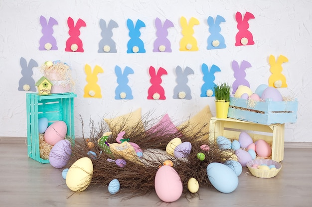 Bright colored easter composition