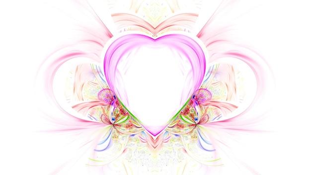 明るい色の輝くハート、バレンタインデー。ハート3dレンダリングとポストカードポスターモックアップ