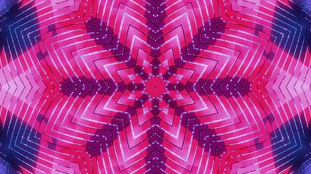 Bright colorful 3d illustration 4k uhd abstract art visual background design with symmetric geometric flower shaped kaleidoscope pattern in neon shades