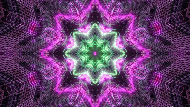 Bright colorful 3d illustration visual background with glowing neon symmetrical star shaped kaleidoscopic pattern