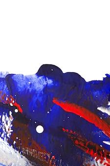 液体塗料の明るくカラフルな線の明るくカラフルな背景。ブラシストロークで白い背景に明るい青赤白線ブラシストローク。カンバの液体塗料。クローズアップスプラッタストローク