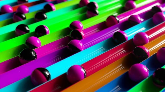 Яркий красочный фон с катящимися шариками по дорожкам. минимализм и концепция моды. 3d иллюстрация