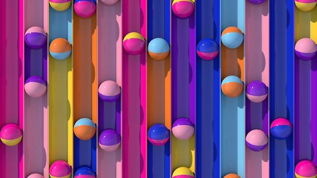 明るくカラフルなボールが転がります。ハードライト。ファッションと美容のコンセプト。抽象的なイラスト、3dレンダリング。