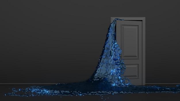 밝고 화려한 푸른 물이 열리는 검은 문에서 방으로 흘러 들어갑니다.