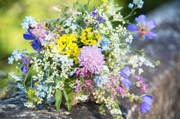 Bright colorful bouquet of wild natural flowers