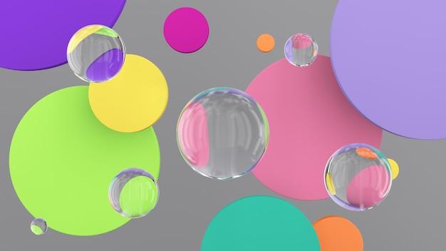 Яркие красочные формы круга и стеклянные шары. абстрактная иллюстрация, 3d визуализация.