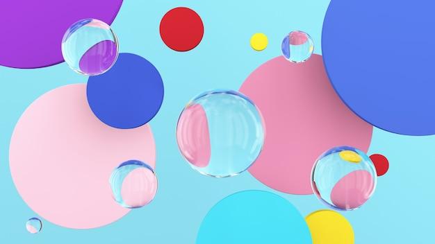 明るくカラフルな円の形とガラス玉。抽象的なイラスト、3dレンダリング。