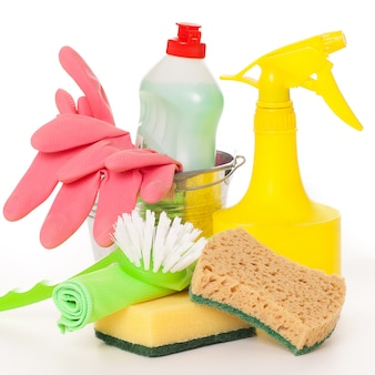 Bright colorful cleaning set on a
