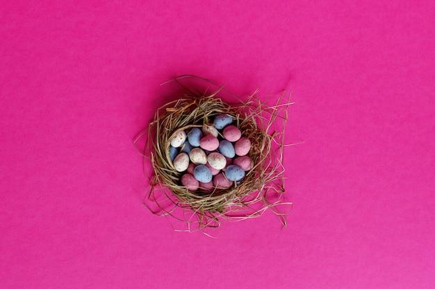 새의 둥지에 밝은 다채로운 부활절 달걀