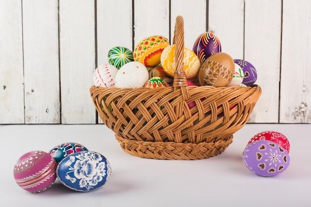 Яркие красочные пасхальные яйца в корзину