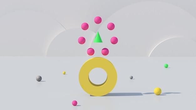明るくカラフルな幾何学的形状。抽象的なイラスト、3dレンダリング。
